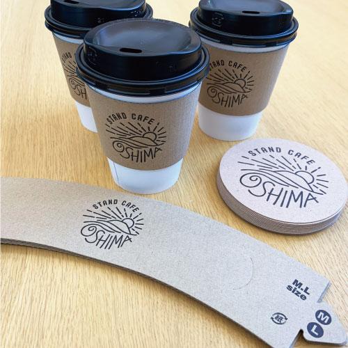 大島器械:カフェスタンド コーヒーカップスリーブ・コースター